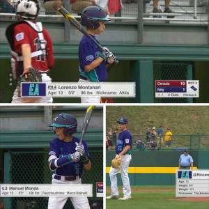 I 3 giovani giocatori degli Athletics Bologna, Monda, Montanari e Nepoti sugli schermi di ESPN durante la Little League di Williamsport in Pennsylvania con la Selezione Emilia Romagna