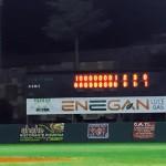 Il tabellone dello Jannella certifica la vittoria Athletics e la No Hit di Salas