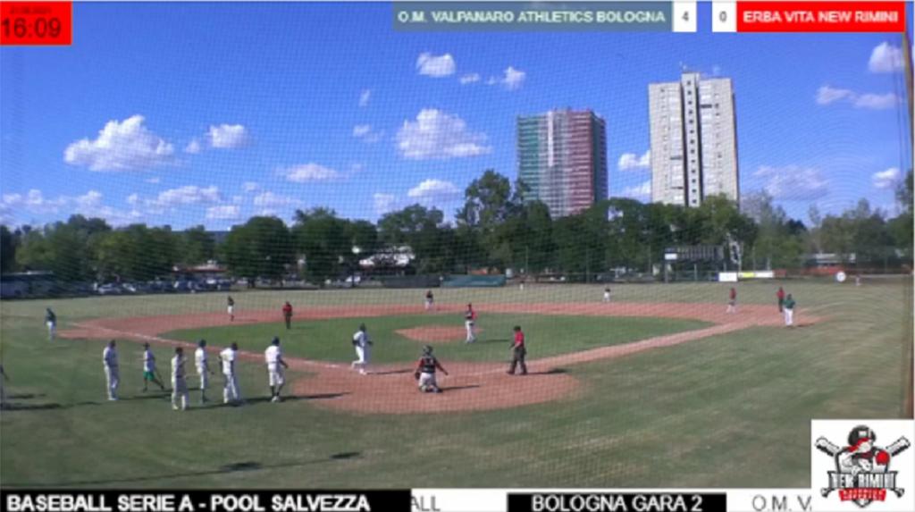 Un'immagine di Icaro TV mentre trasmette gli incontri tra OM Valpnaro Athletics Bologna e New Rimini Erba Vita del Campionato Italiano di Serie A di Baseball 2021